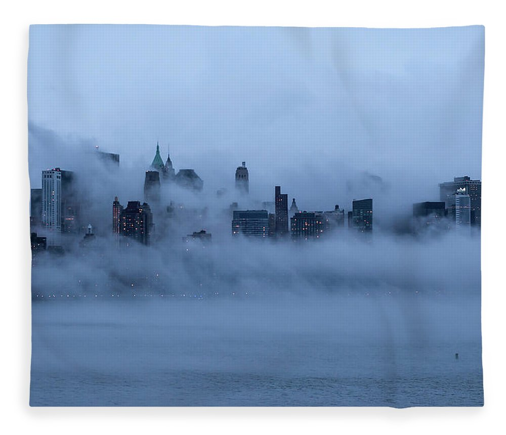 Dawn Fleece Blanket featuring the photograph Foggy New York City by Laverrue Was Here
