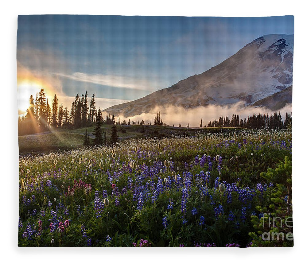 Rainier Fleece Blanket featuring the photograph Foggy Rainier Sunset by Mike Reid
