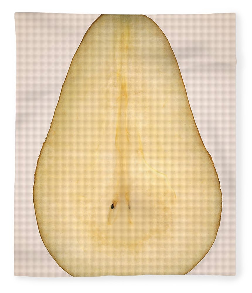 Chef Fleece Blanket featuring the photograph Food - Fruit - A Slice Of Bosc Pear by Mike Savad