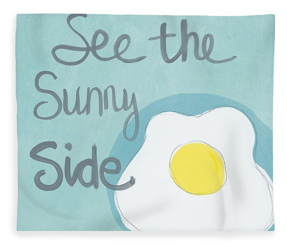 Egg Fleece Blanket featuring the painting Food- Kitchen Art- Eggs- Sunny Side Up by Linda Woods