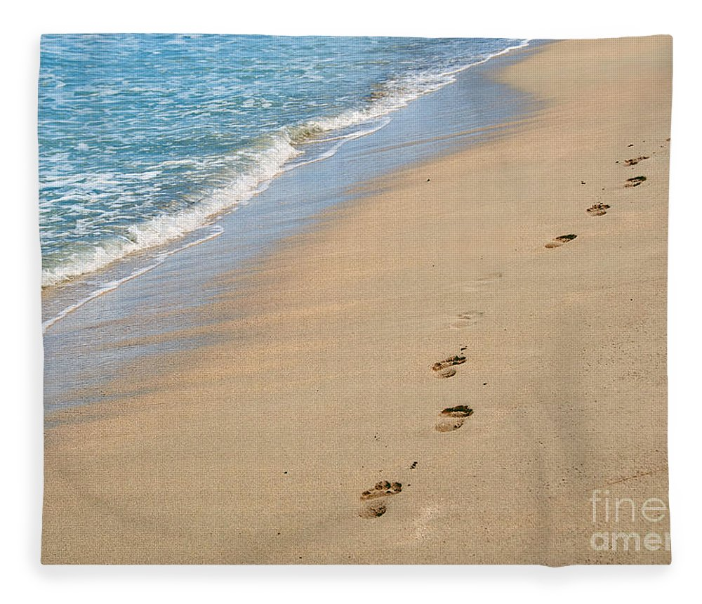 America Fleece Blanket featuring the photograph Footprints In The Sand by Juli Scalzi