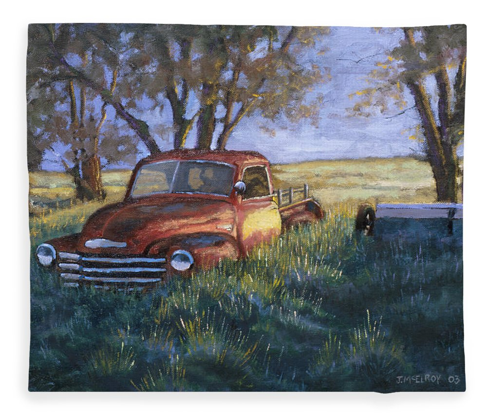 Pickup Truck Fleece Blanket featuring the painting Forgotten But Still Good by Jerry McElroy