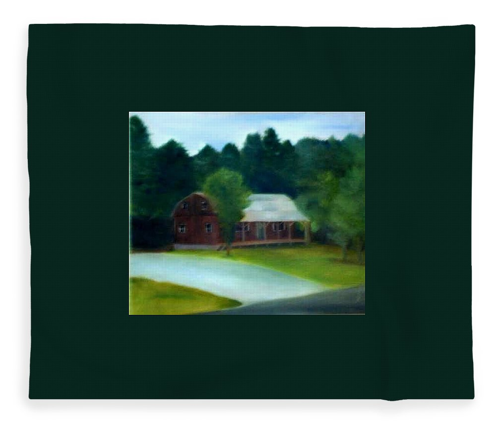 Upstate Fleece Blanket featuring the painting Forrest's House by Sheila Mashaw