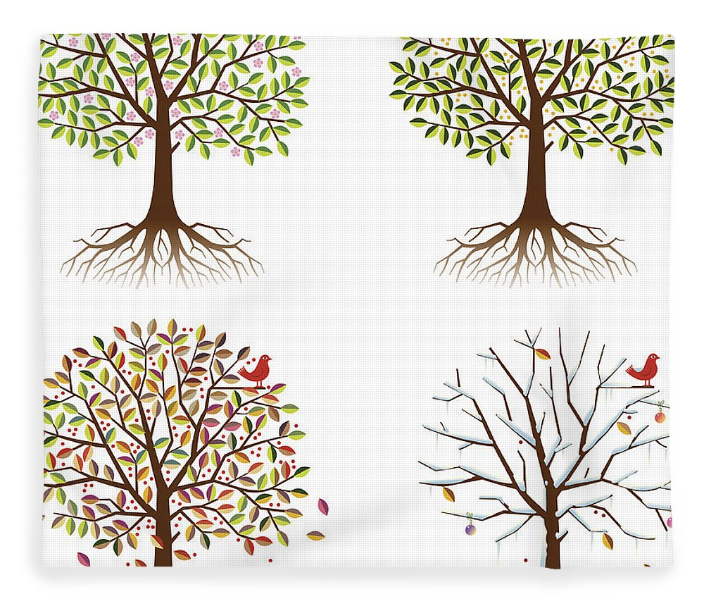 Environmental Conservation Fleece Blanket featuring the digital art Four Seasons In One Tree by Johnwoodcock