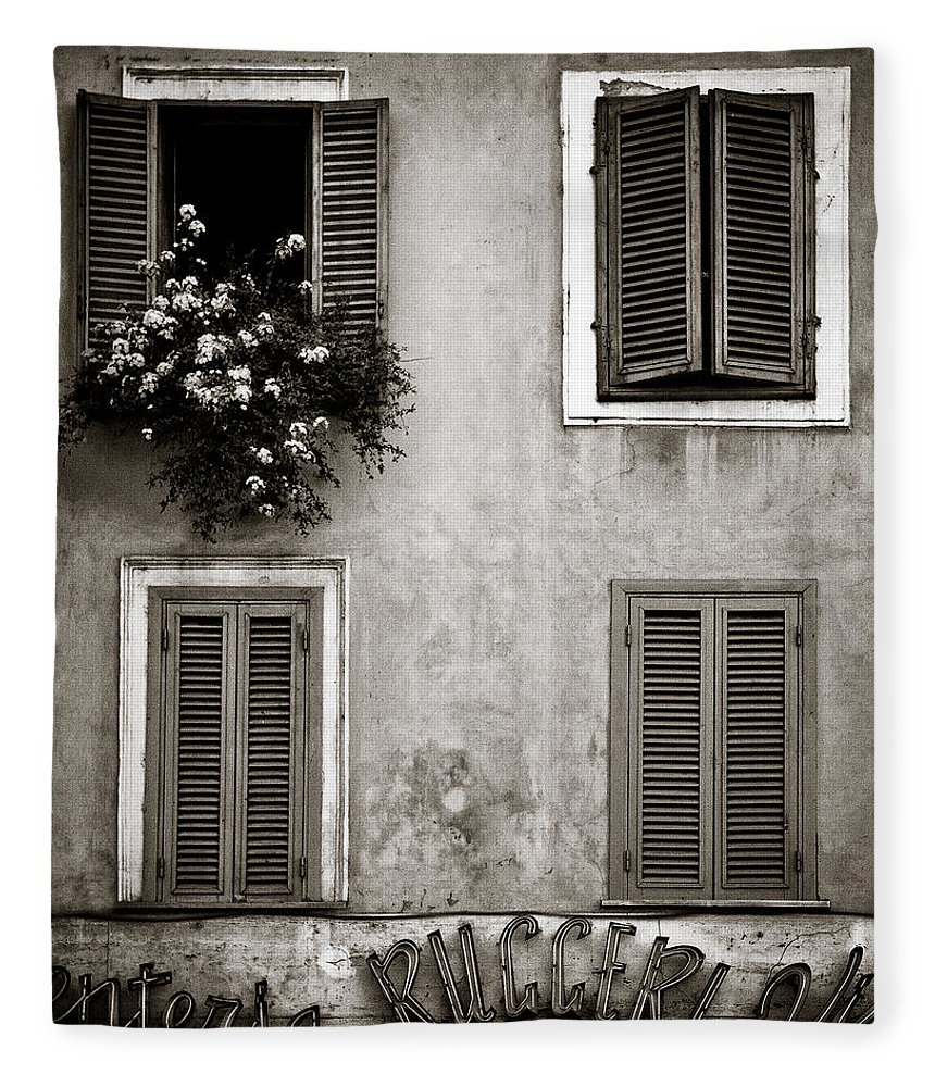 Rome Fleece Blanket featuring the photograph Four Windows by Dave Bowman