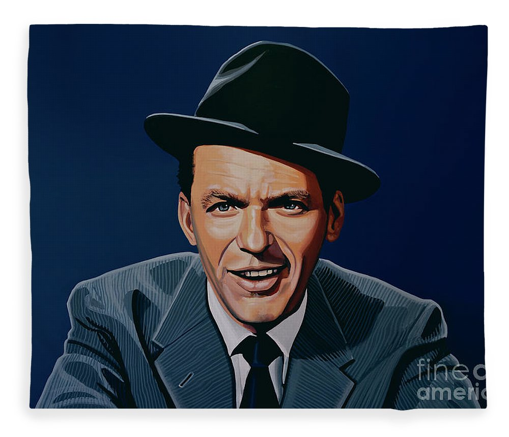 Frank Sinatra Fleece Blanket featuring the painting Frank Sinatra by Paul Meijering