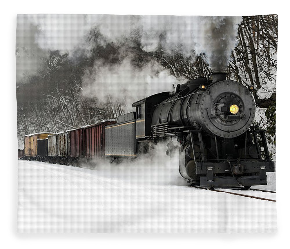 Scenics Fleece Blanket featuring the photograph Freight Train With Steam Locomotive by Catnap72