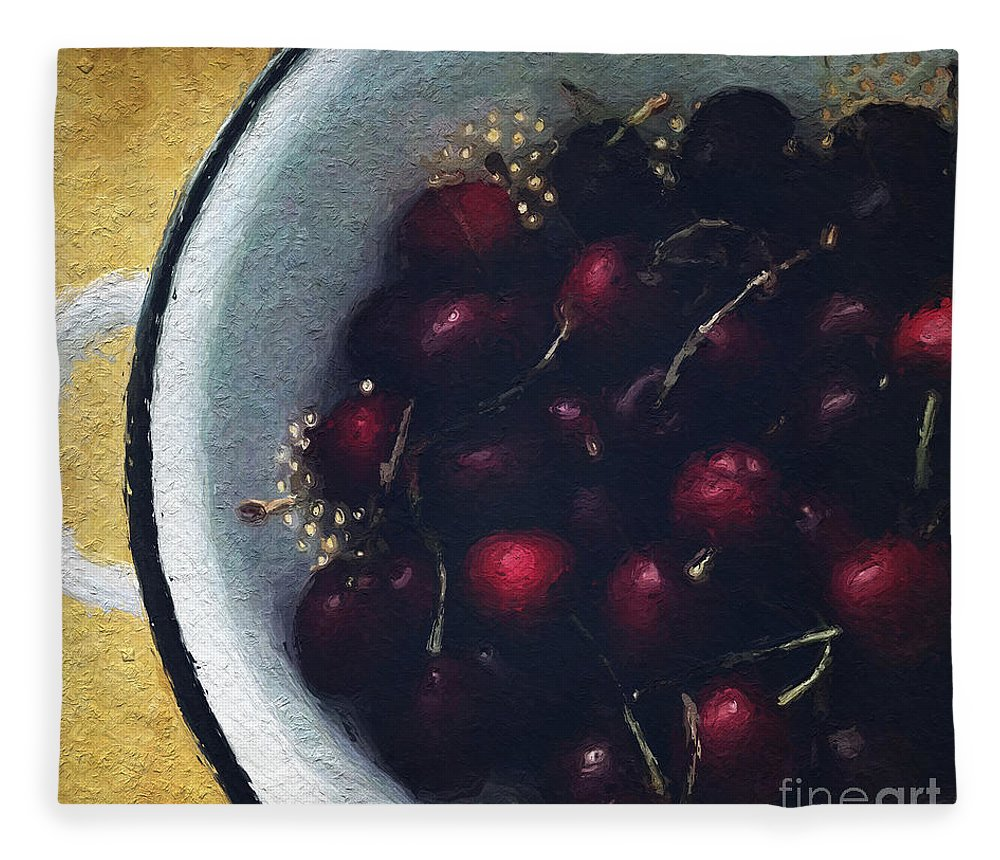 Cherry Fleece Blanket featuring the painting Fresh Cherries by Linda Woods