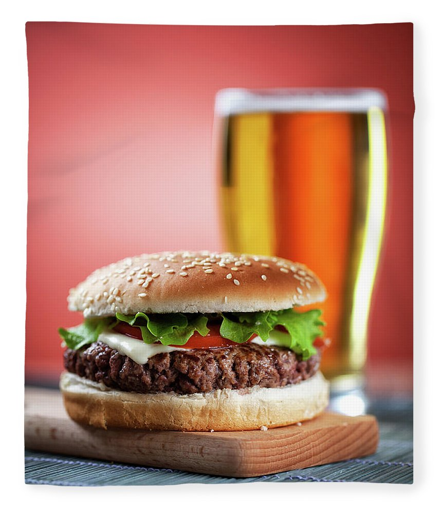 Unhealthy Eating Fleece Blanket featuring the photograph Fresh Hamburger With Beer by Svariophoto