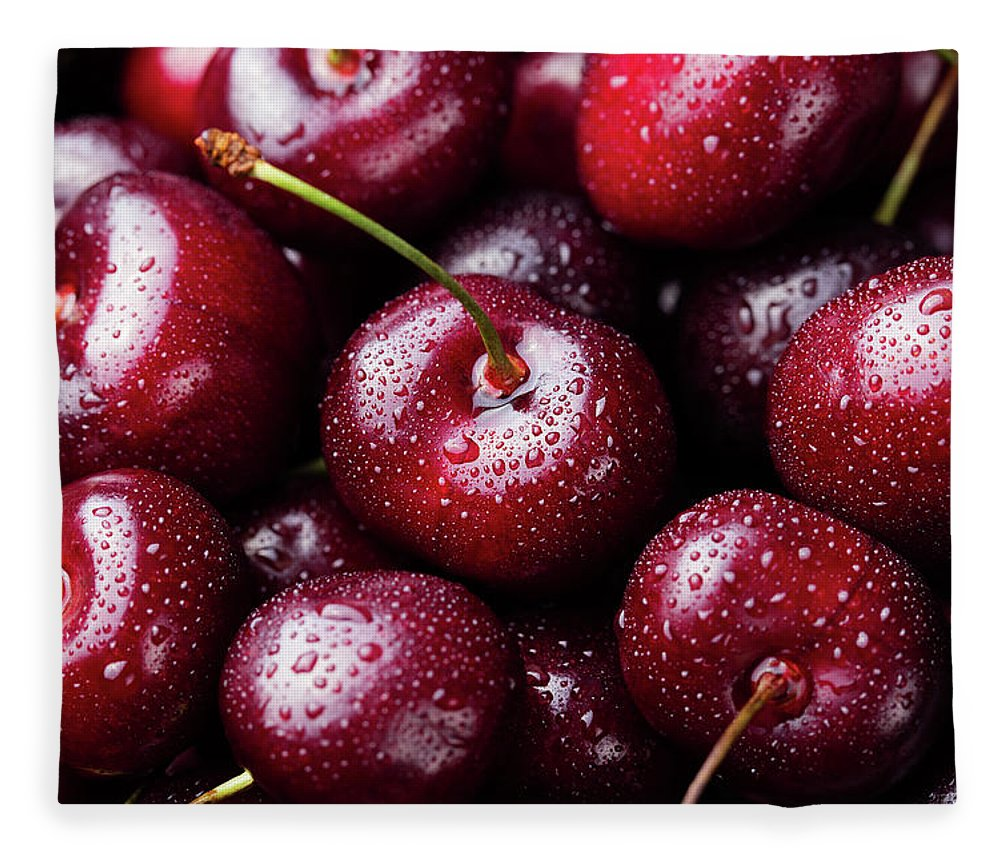 Cherry Fleece Blanket featuring the photograph Fresh Ripe Black Cherries Background by Anna Pustynnikova