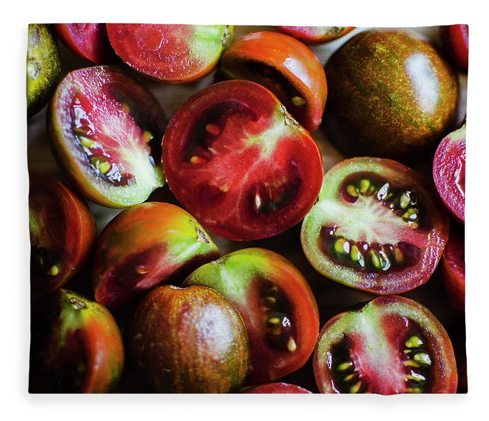 Tranquility Fleece Blanket featuring the photograph Freshly Cut Tomatoes by Jamie Grill