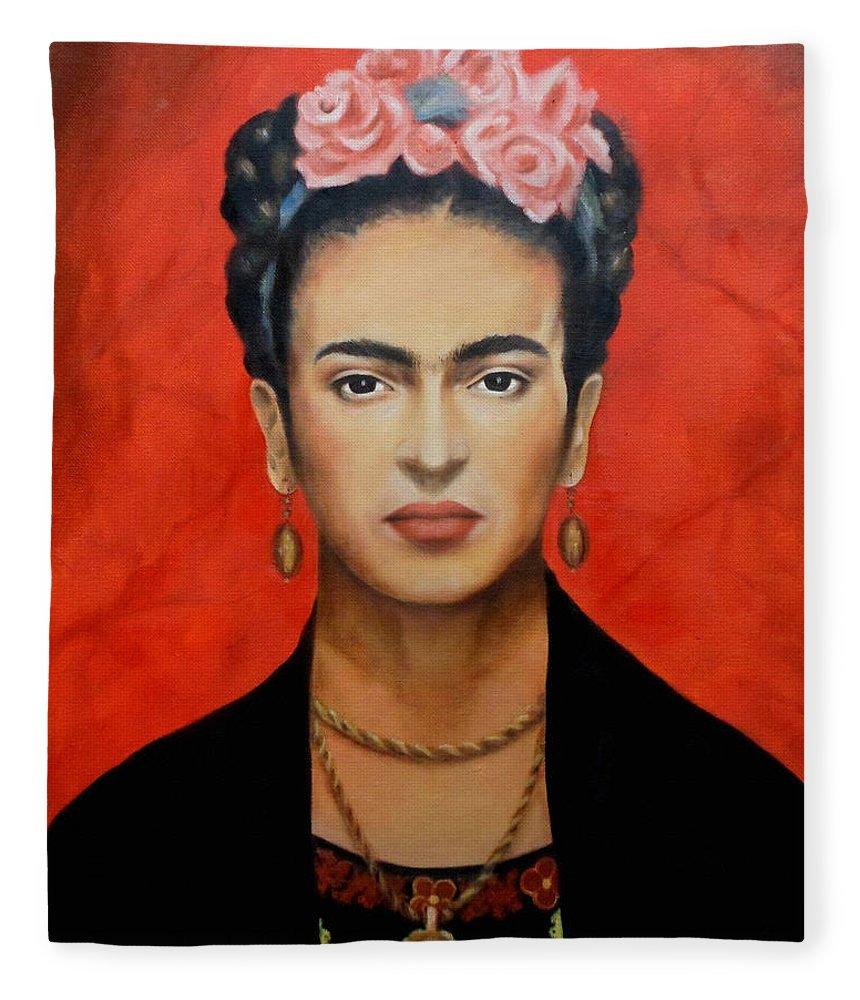 Frida Fleece Blanket featuring the painting Frida Kahlo by Yelena Day