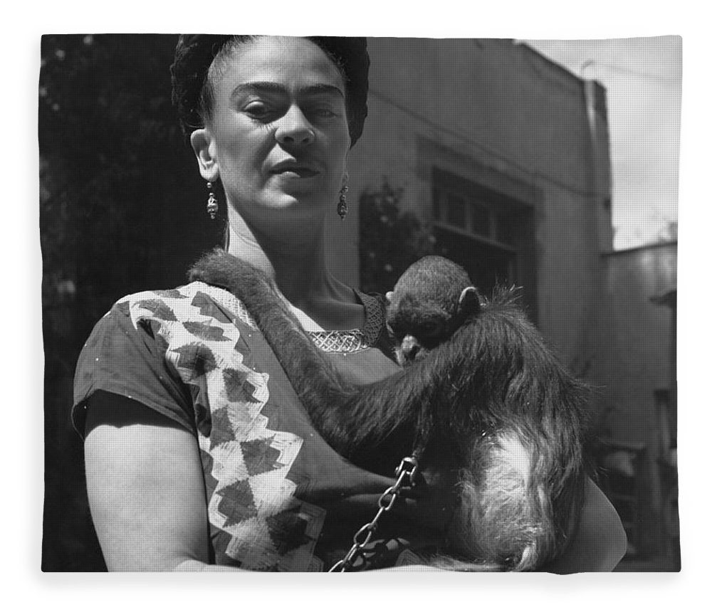 Bw fleece blanket featuring the photograph frida kahlo by fritz henle
