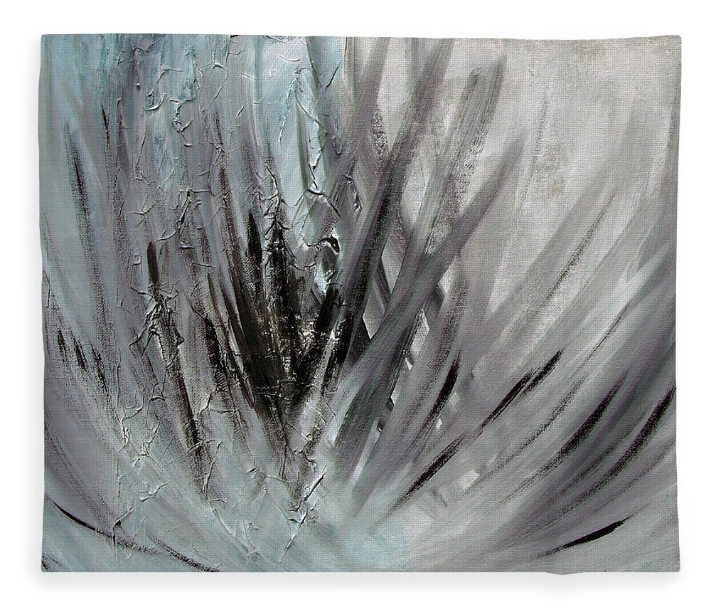 Abstract Fleece Blanket featuring the painting Frozen by Sergey Bezhinets