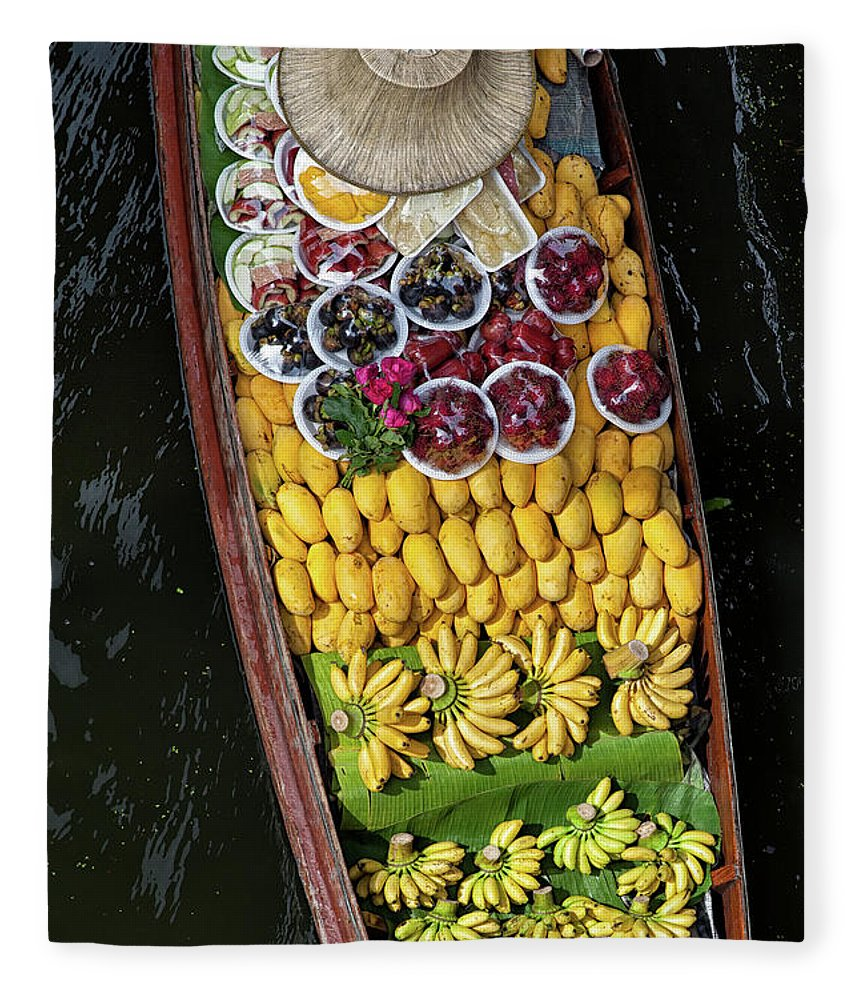 Mango Fruit Fleece Blanket featuring the photograph Fruits In A Boat On A Floating Market by Rogdy Espinoza Photography