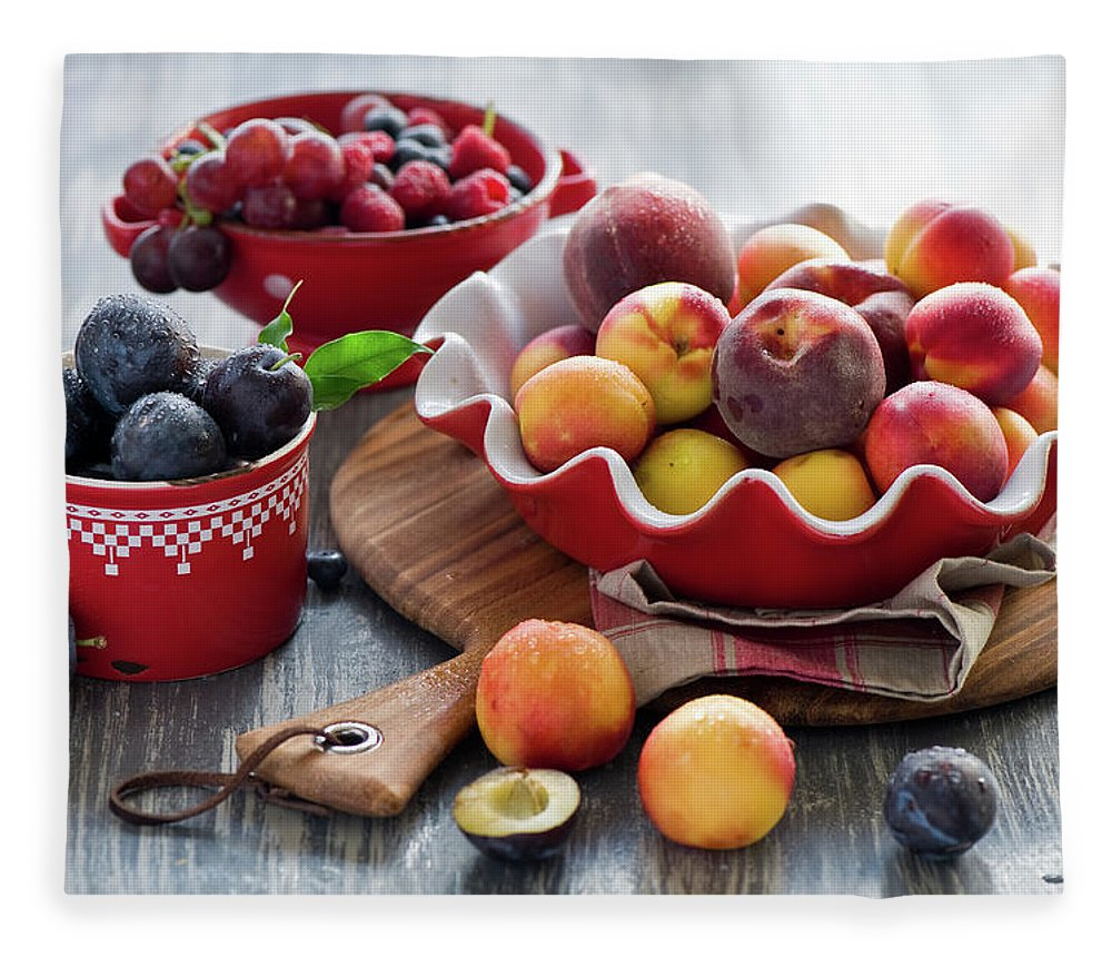 Plum Fleece Blanket featuring the photograph Fruits by Verdina Anna