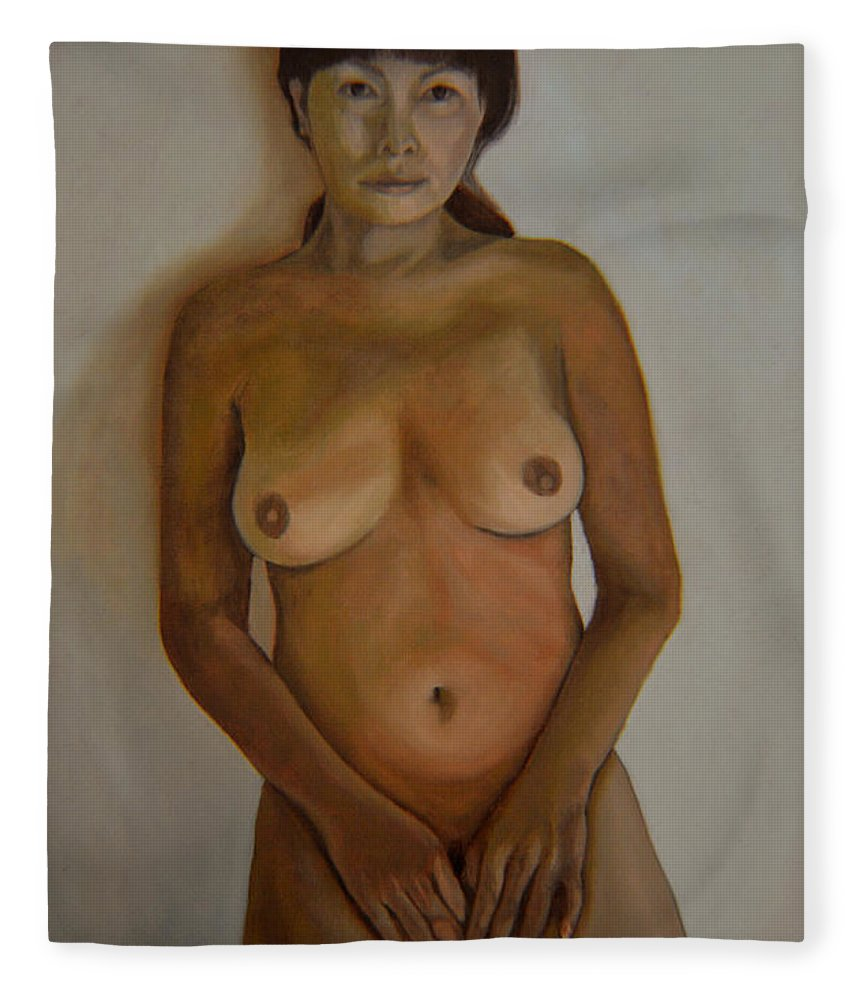 Nude Fleece Blanket featuring the painting Full Frontal Well Almost by Thu Nguyen