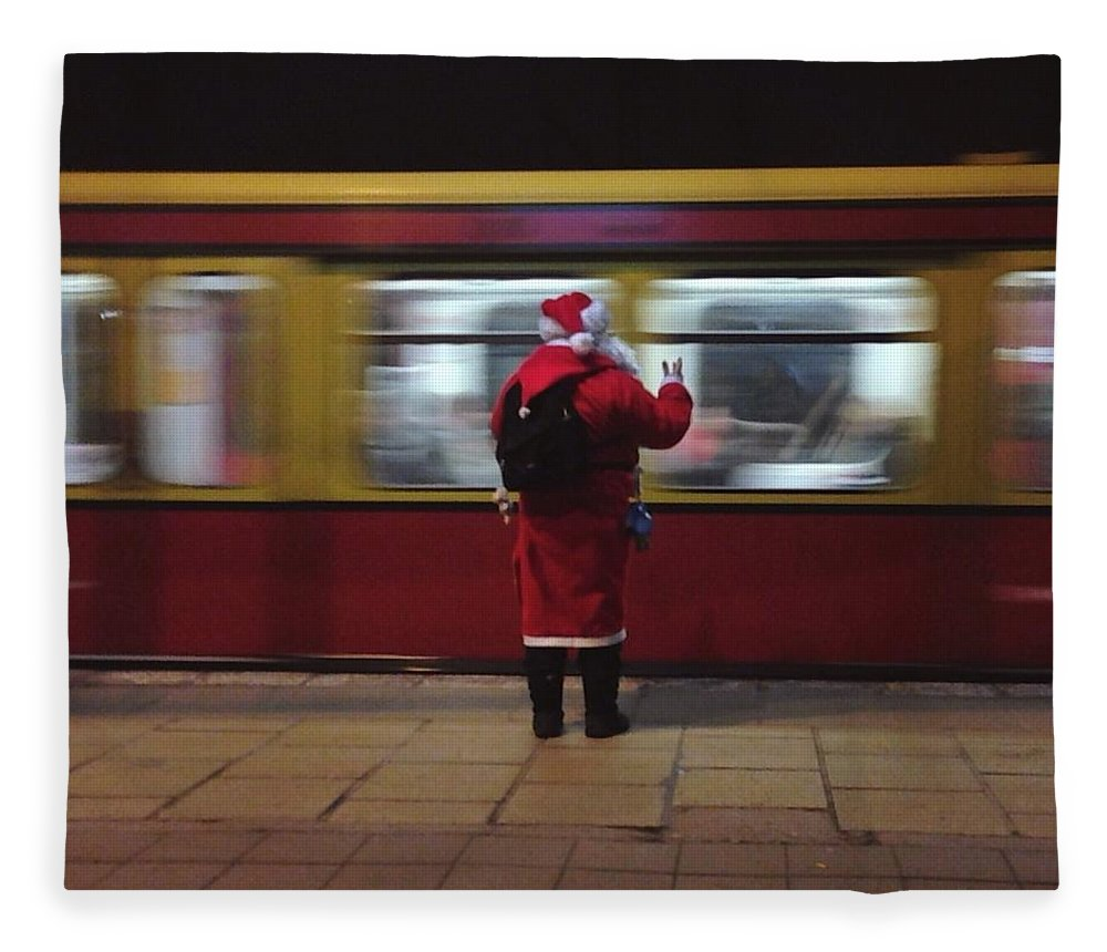 Passenger Train Fleece Blanket featuring the photograph Full Length Rear View Of Man In Santa by Monika Kanokova / Eyeem