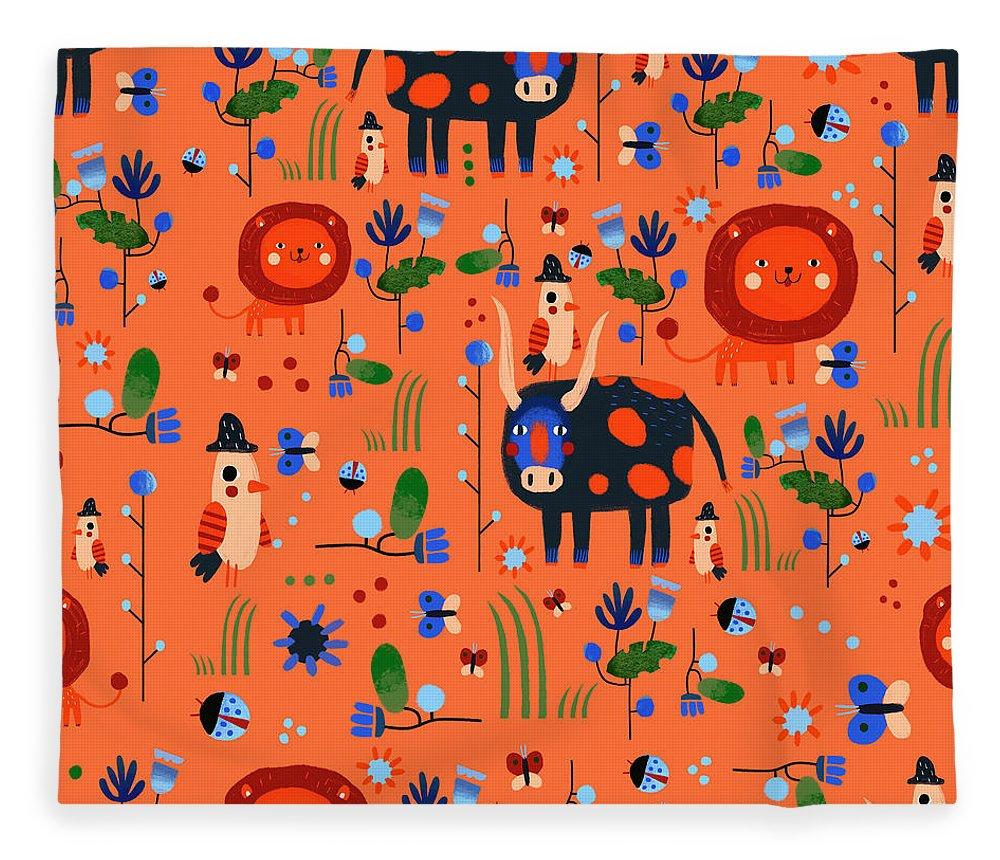 Gouache Fleece Blanket featuring the digital art Funny Pattern With Animals by Ekaterina Ladatko