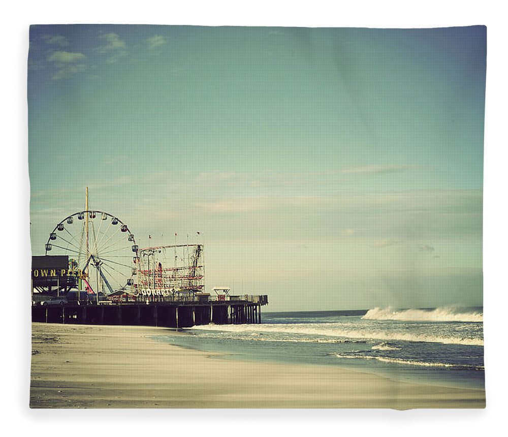 Funtown Pier Fleece Blanket featuring the photograph Funtown Pier Seaside Heights New Jersey Vintage by Terry DeLuco