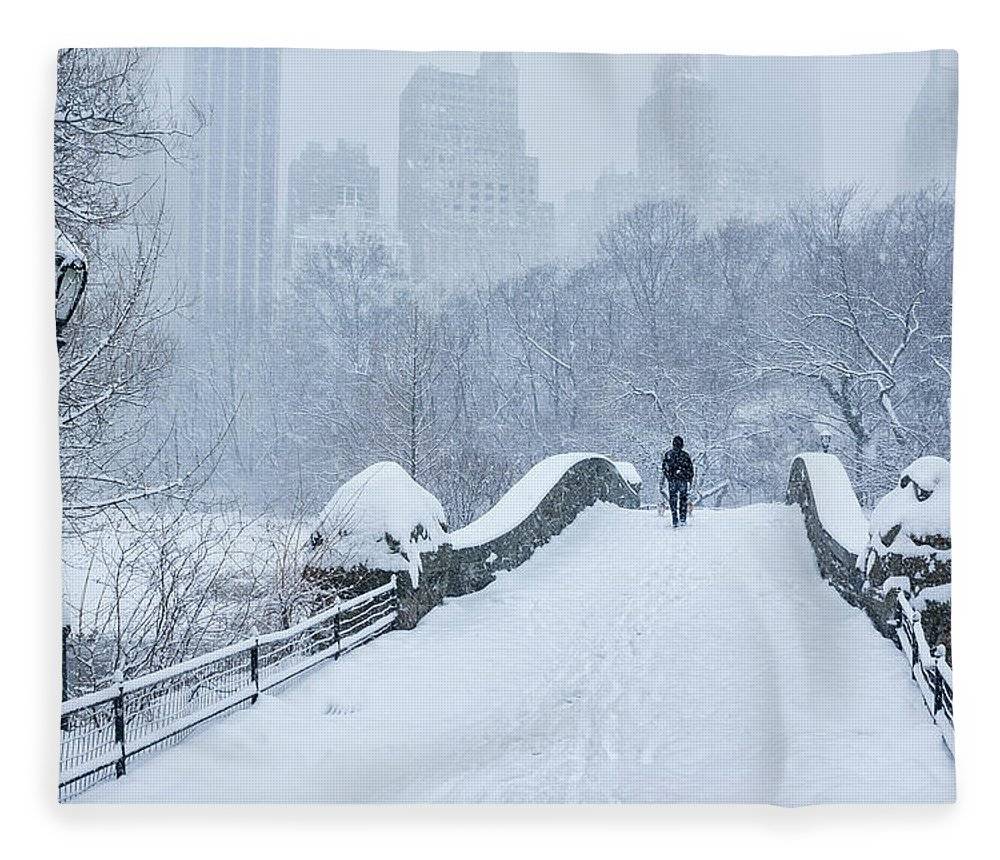Elevated Walkway Fleece Blanket featuring the photograph Gapstow Bridge Central Park Snowstorm by Matejphoto
