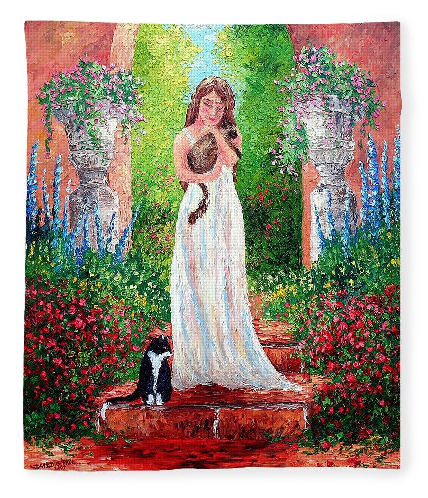 Cat Fleece Blanket featuring the painting Garden Friends by David G Paul