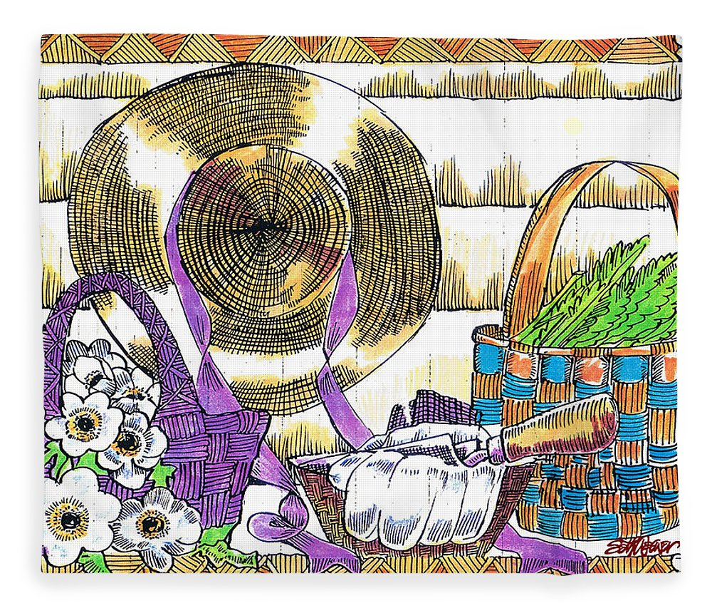 Gardener's Basket Fleece Blanket featuring the drawing Gardener's Basket by Seth Weaver