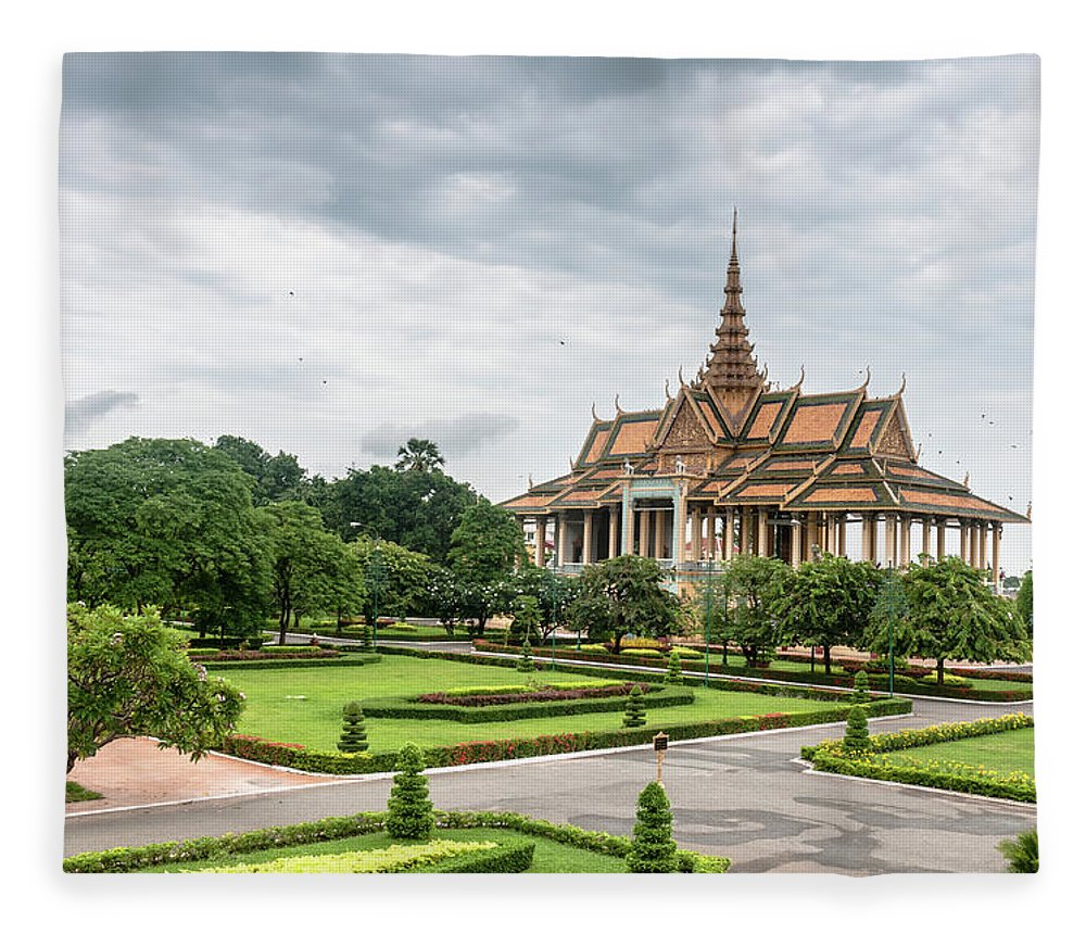 Southeast Asia Fleece Blanket featuring the photograph Gardens At The Royal Palace In Phnom by Tbradford