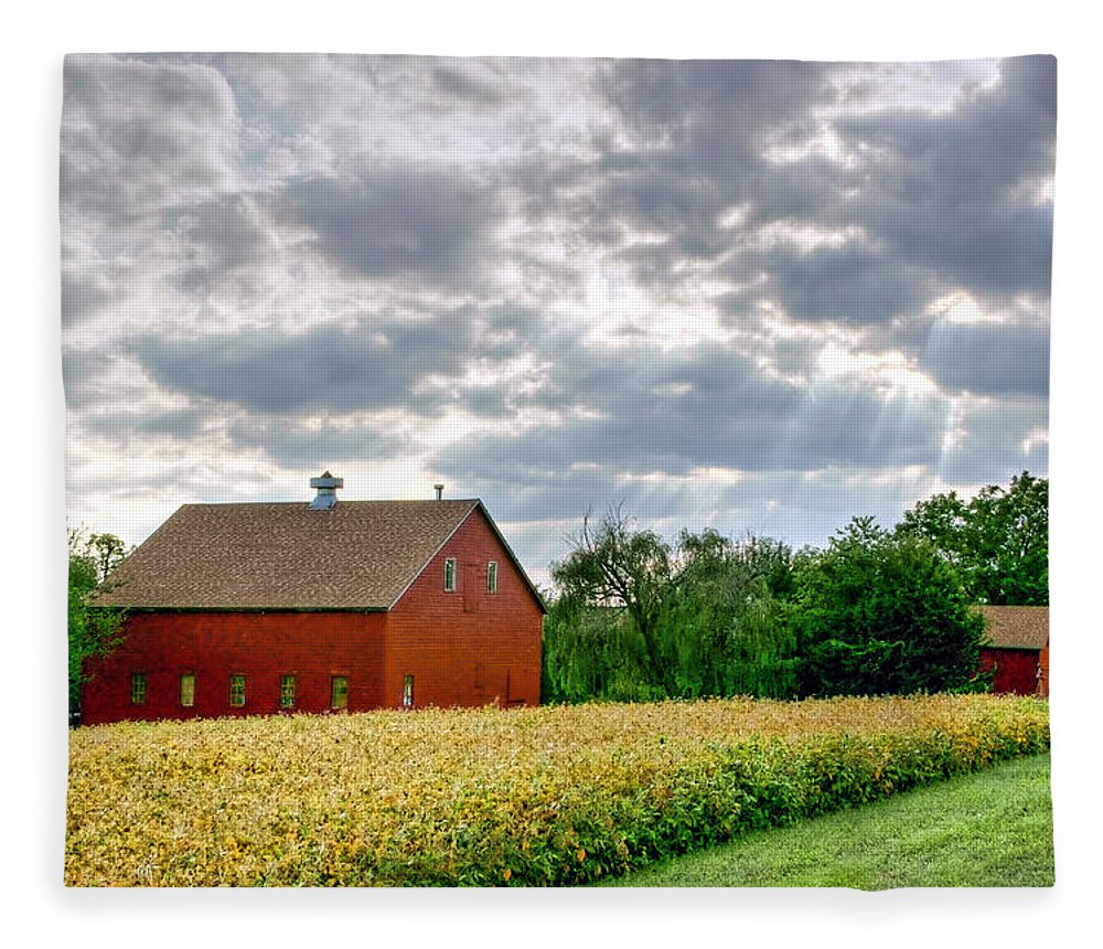 Red Barns Fleece Blanket featuring the photograph Geometry Of Autumn by Nikolyn McDonald