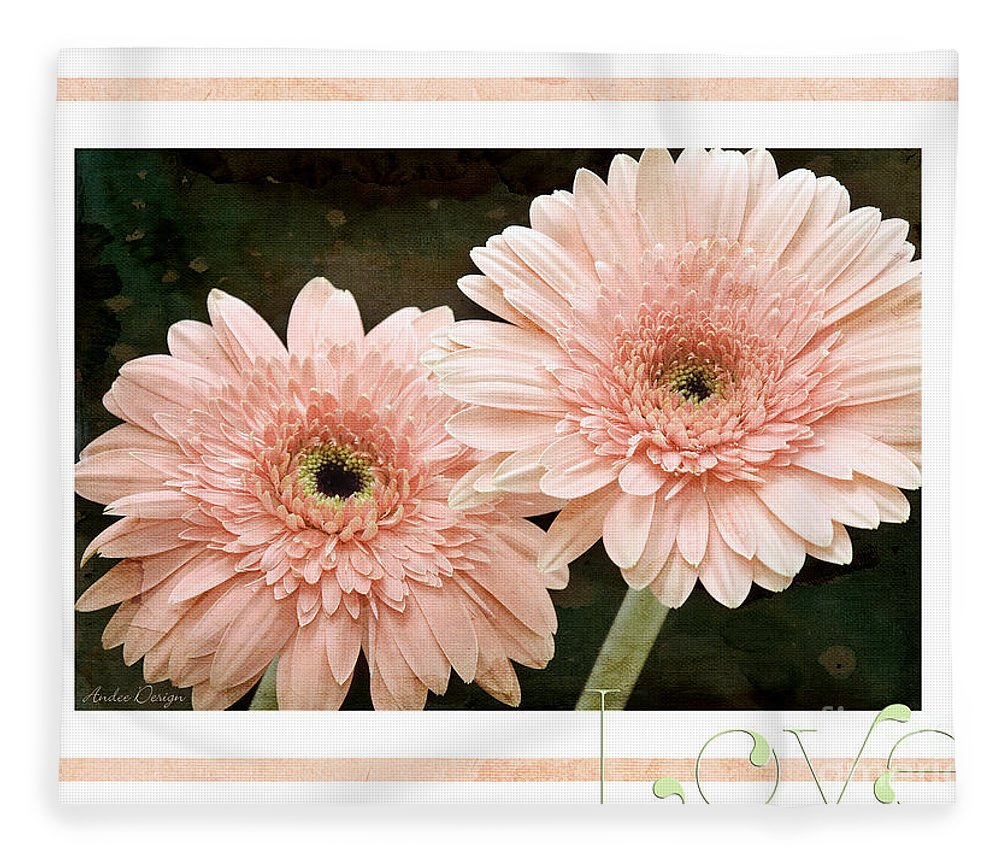 Gerber Fleece Blanket featuring the photograph Gerber Daisy Love 5 by Andee Design