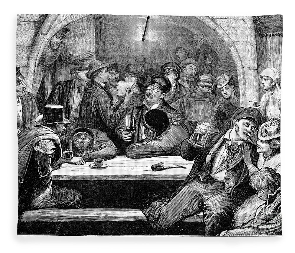 1875 Fleece Blanket featuring the photograph Germany: Beer Cellar, 1875 by Granger