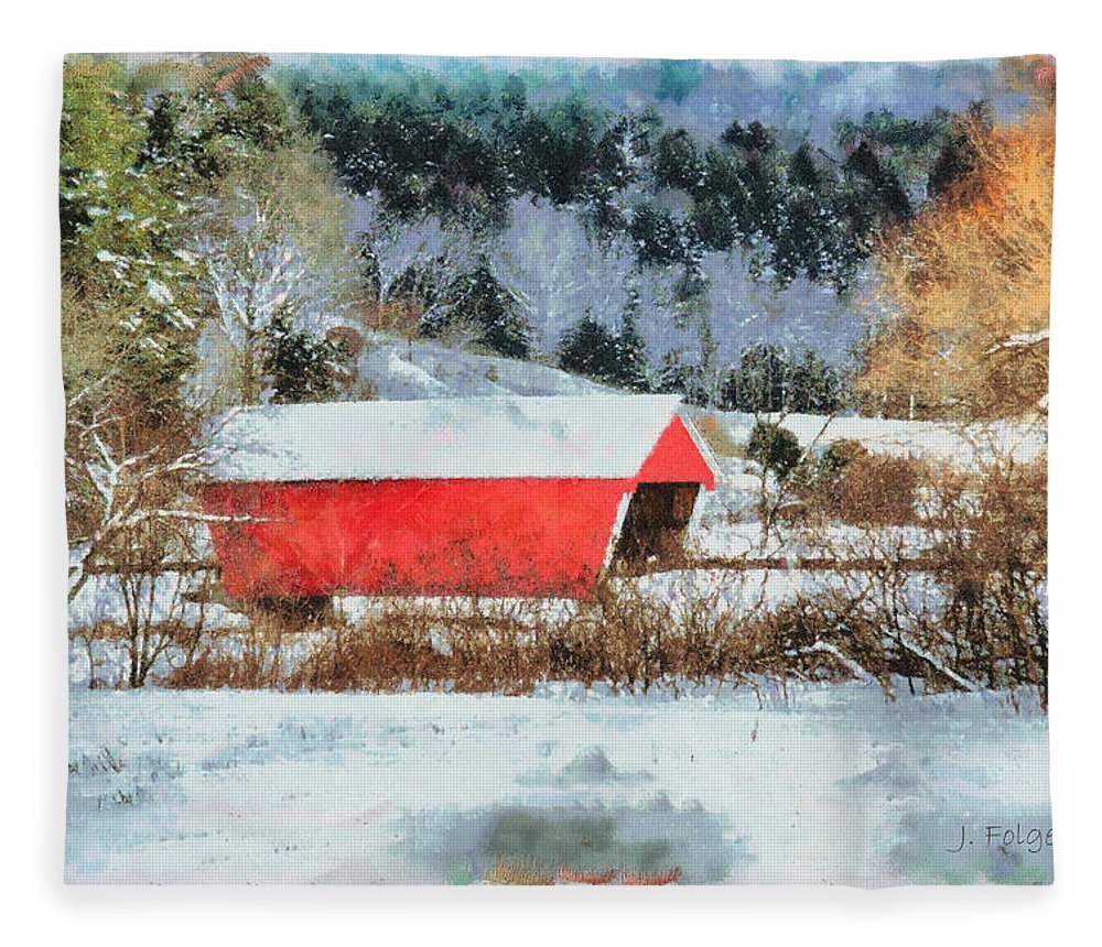 Covered Bridge-gifford Bridge Vermont By Jeff Folger Fleece Blanket featuring the photograph Gifford Covered Bridge In Winter by Jeff Folger