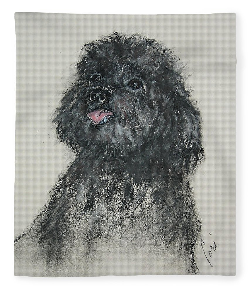 Poodle Fleece Blanket featuring the drawing Gigi by Cori Solomon