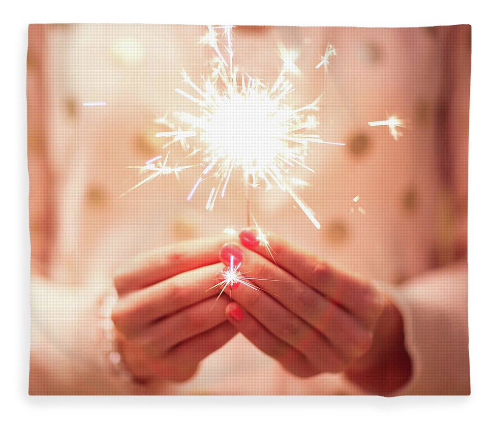 Firework Display Fleece Blanket featuring the photograph Girl Holding Small Sparkler by Sasha Bell