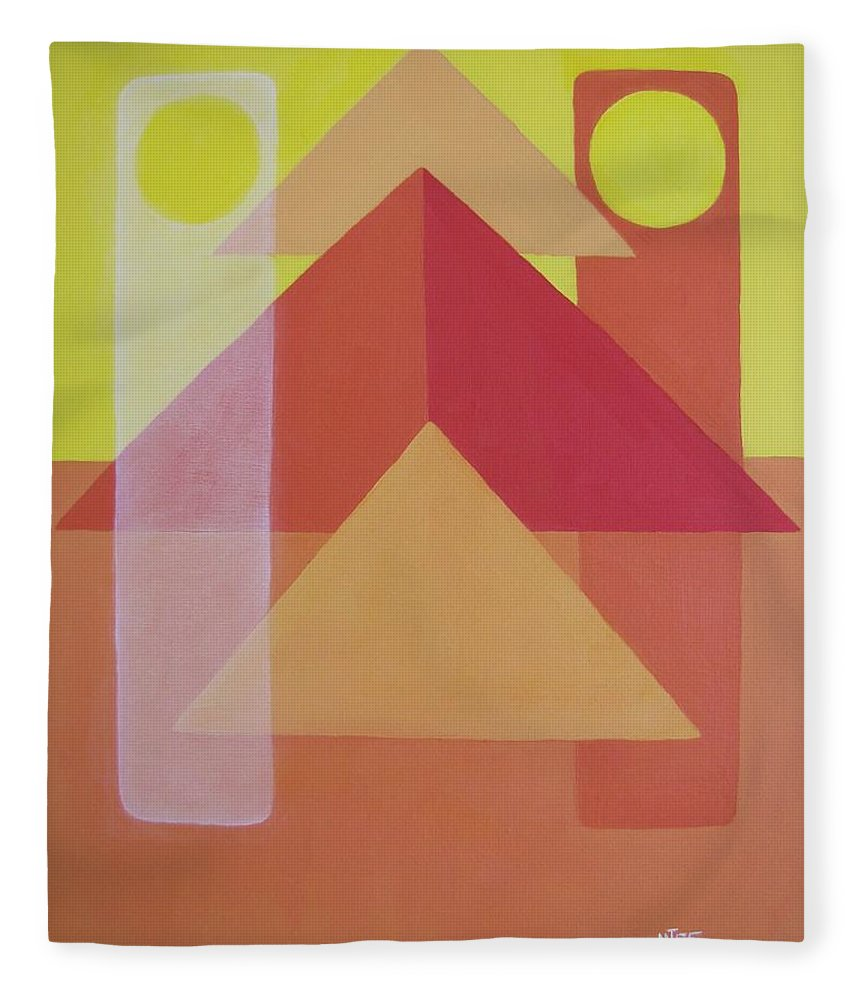 Giza Fleece Blanket featuring the painting Giza by Michael TMAD Finney AKA MTEE