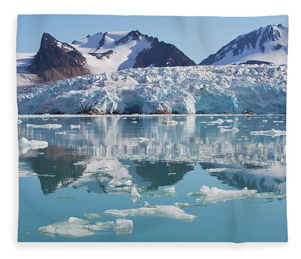 Scenics Fleece Blanket featuring the photograph Glaciers Tumble Into The Sea In The by Anna Henly