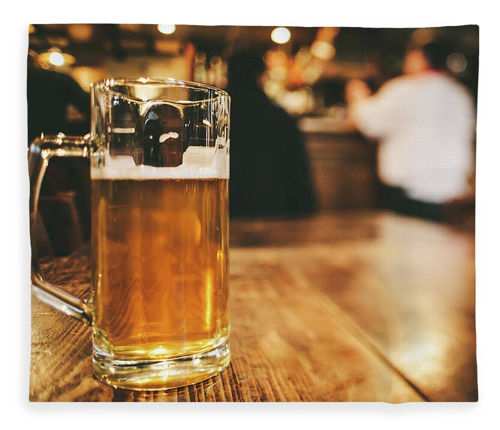 Alcohol Fleece Blanket featuring the photograph Glass Of Bier, Brewery In Germany by Moreiso