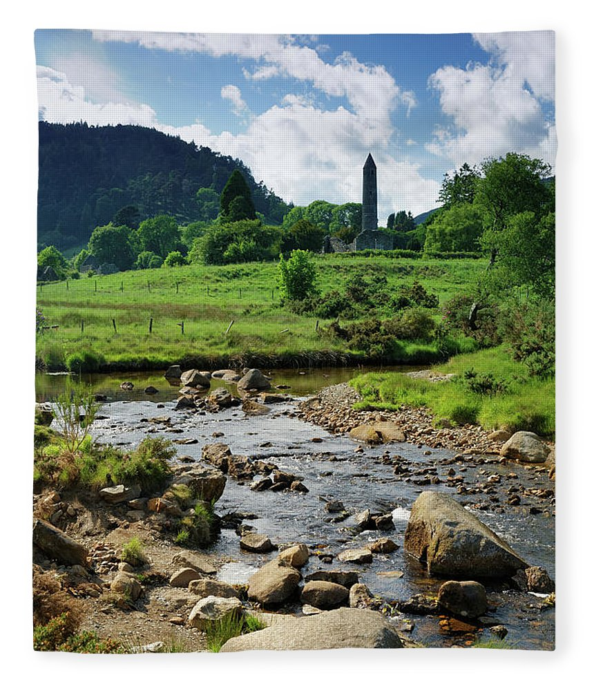 Scenics Fleece Blanket featuring the photograph Glendalough Creek With The Old Monastic by Mammuth