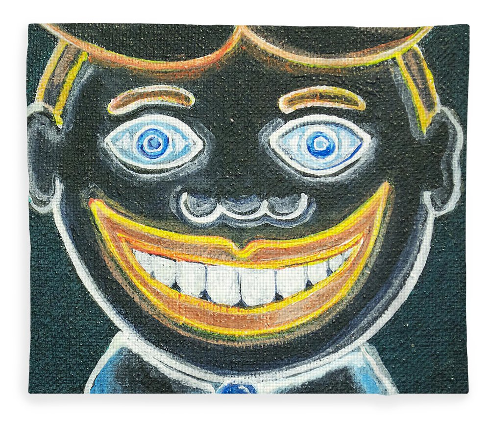 Tillie Of Asbury Park Fleece Blanket featuring the painting Glow in the dark Tillie by Patricia Arroyo