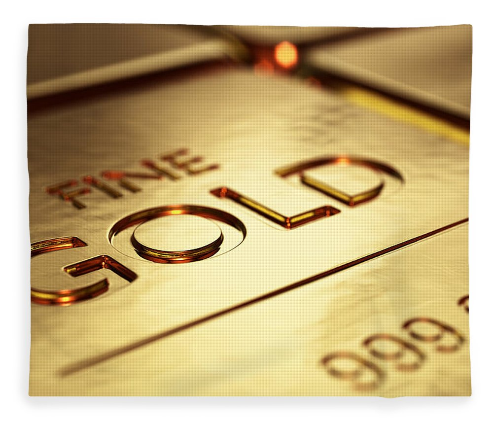 Gold Fleece Blanket featuring the photograph Gold Bars Close-up by Johan Swanepoel