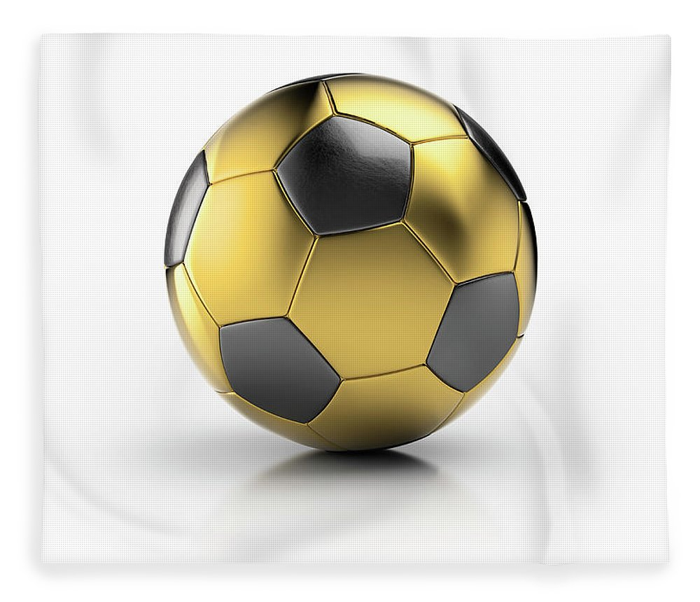 White Background Fleece Blanket featuring the photograph Gold Football by Atomic Imagery