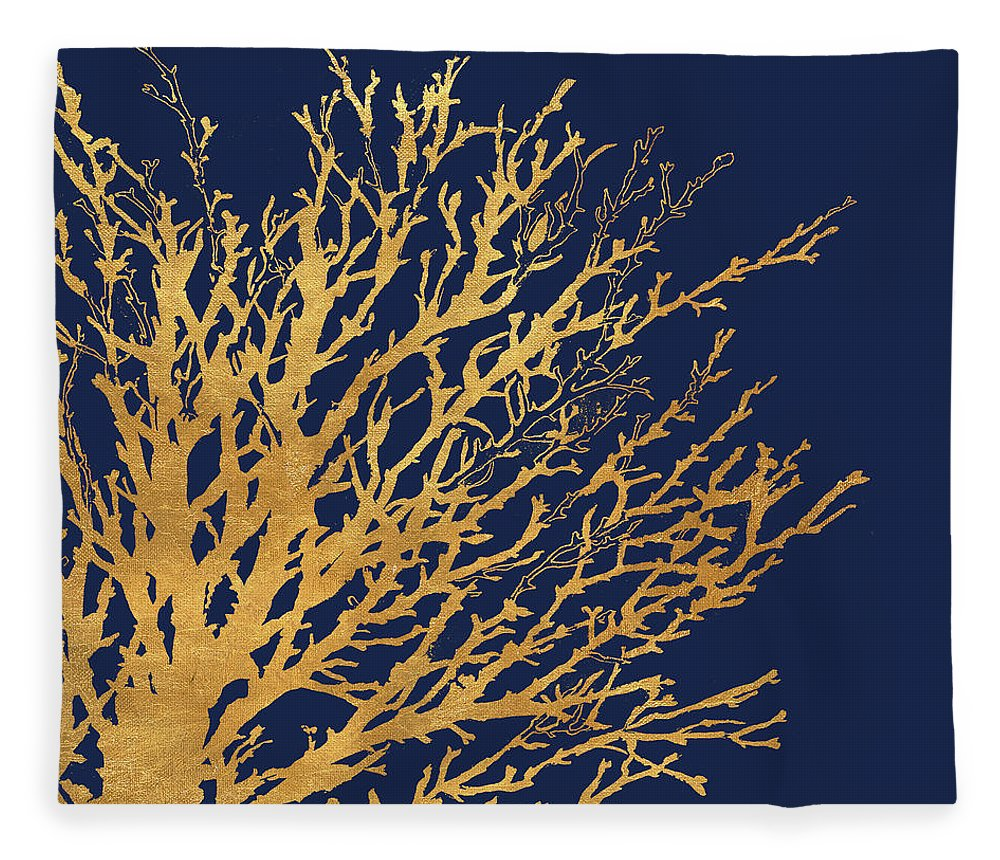 Gold Fleece Blanket featuring the mixed media Gold Medley On Navy by Lanie Loreth