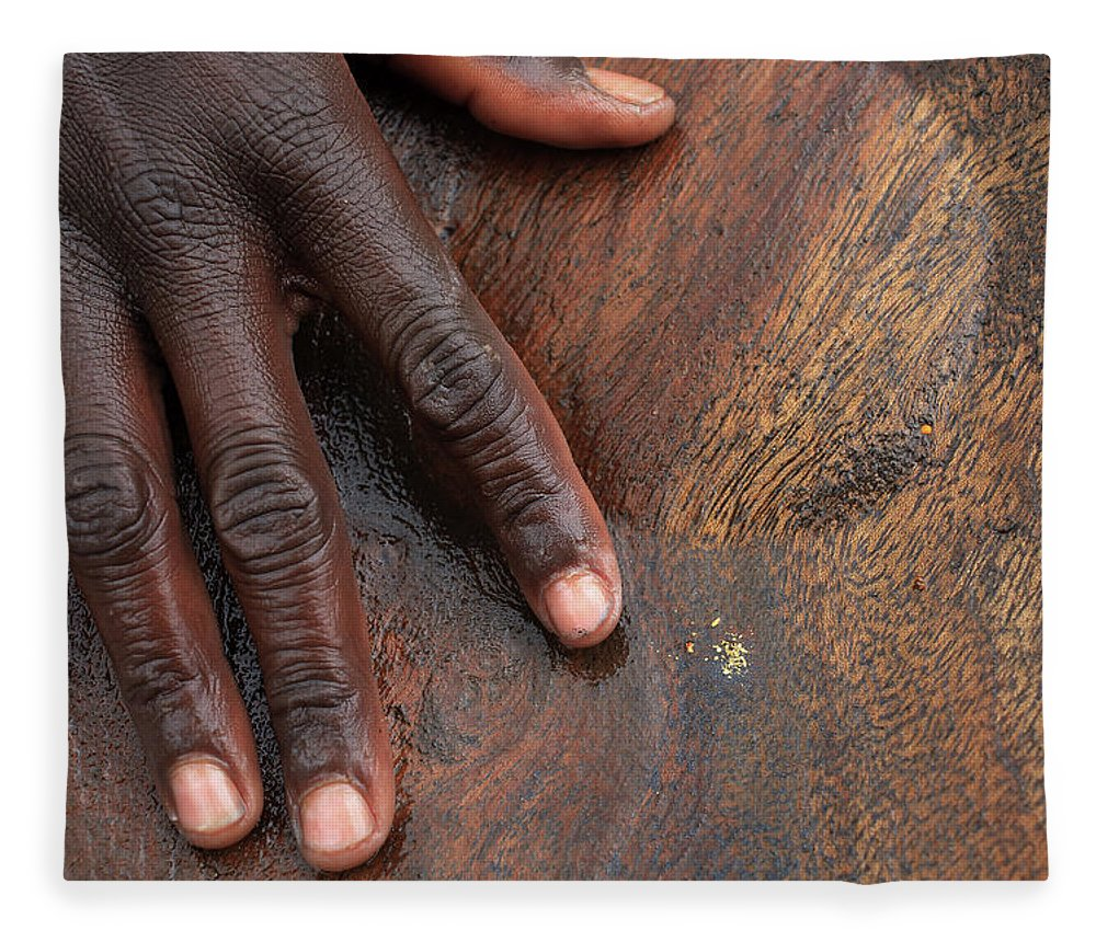 People Fleece Blanket featuring the photograph Gold Panning, Gold And Hand, Ethiopia by Dietmar Temps, Cologne