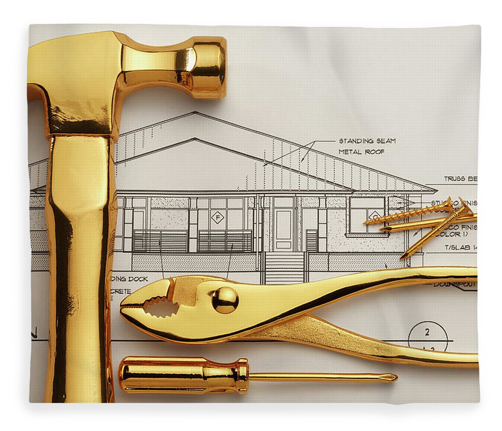 Plan Fleece Blanket featuring the photograph Gold Plated Tools And Blueprints by Dny59