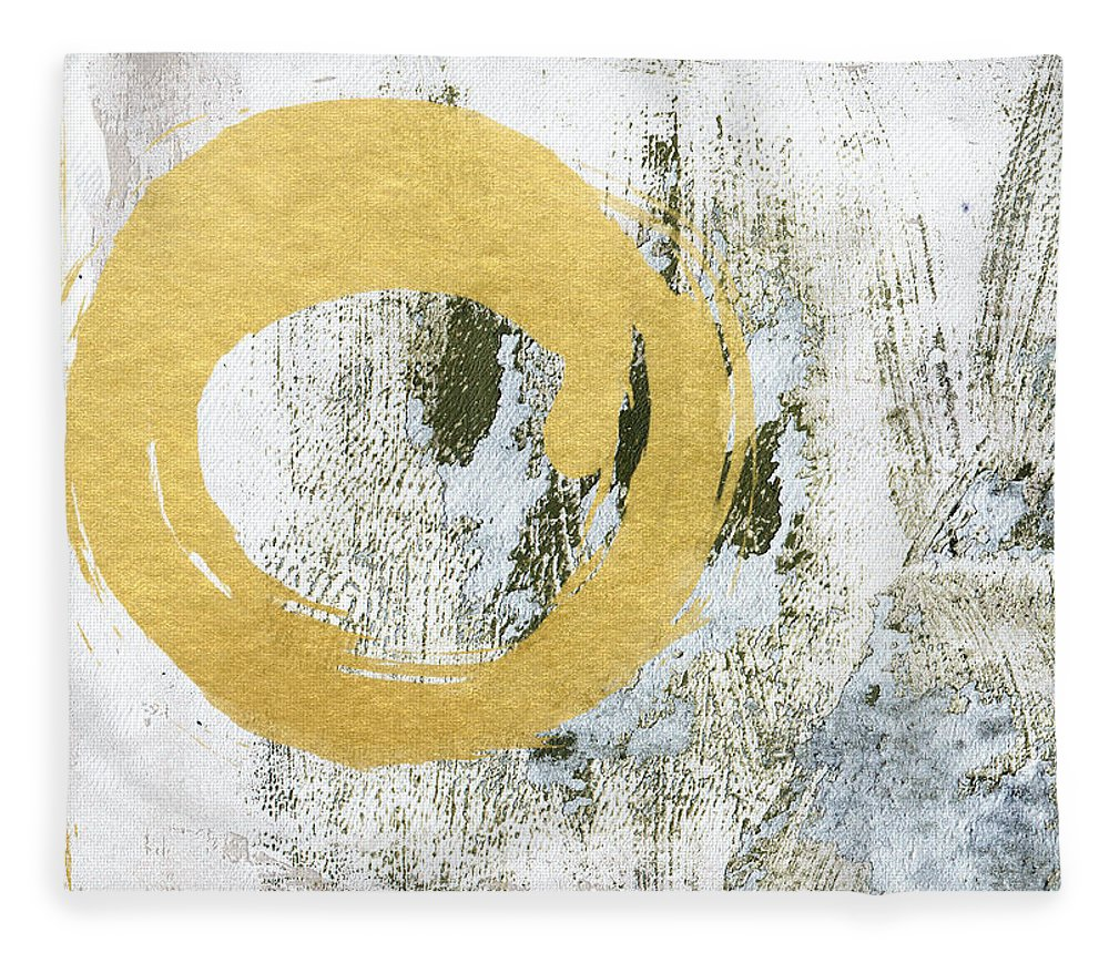 Gold Fleece Blanket featuring the painting Gold Rush - Abstract Art by Linda Woods