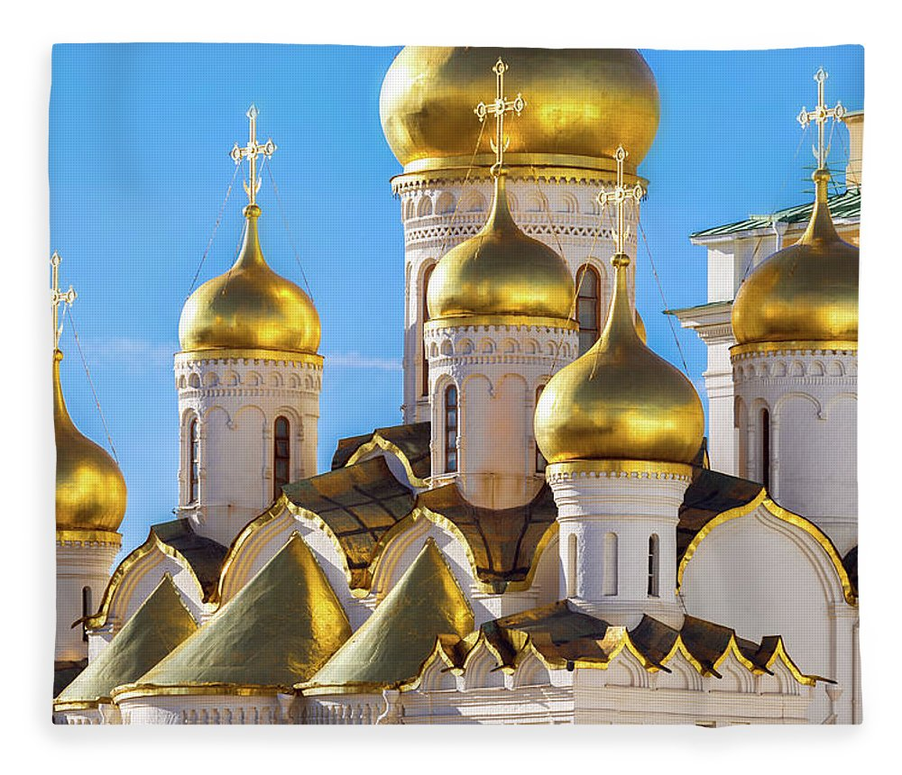 Annunciation Fleece Blanket featuring the photograph Golden Domes Of The Russian Church by Mordolff