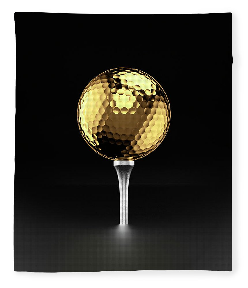 Two Objects Fleece Blanket featuring the photograph Golfball And Alluminium Golf Tee by Atomic Imagery