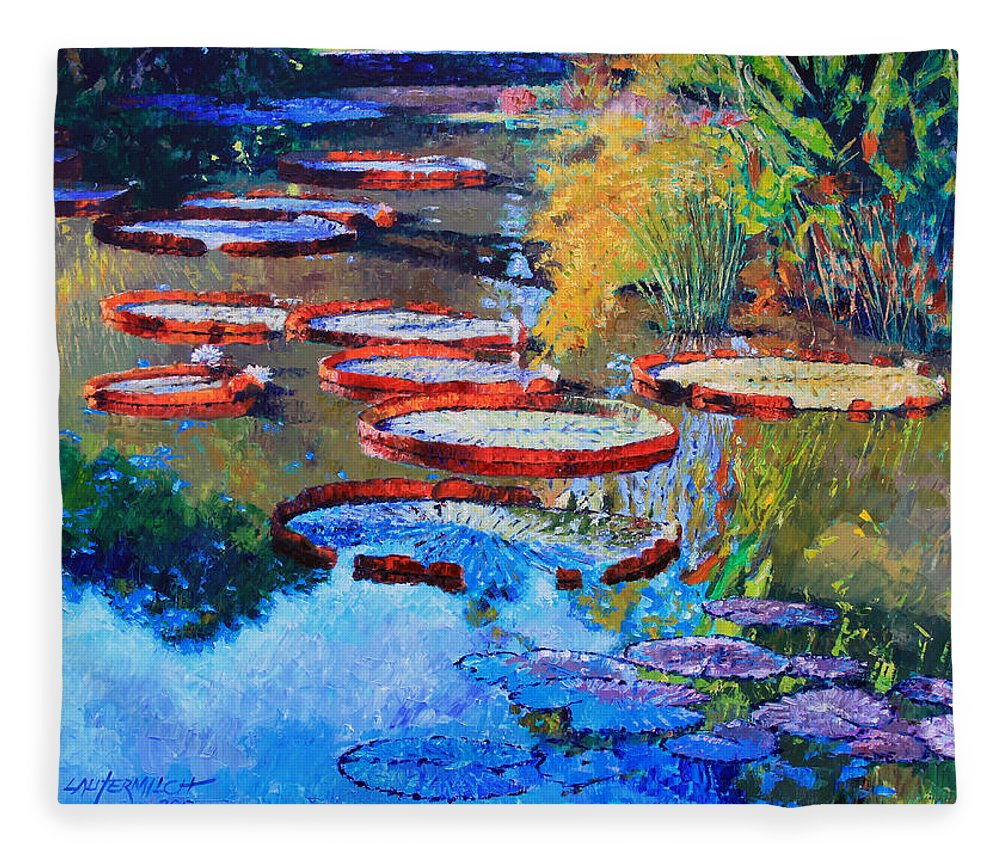 Garden Pond Fleece Blanket featuring the painting Good Morning Lily Pond by John Lautermilch