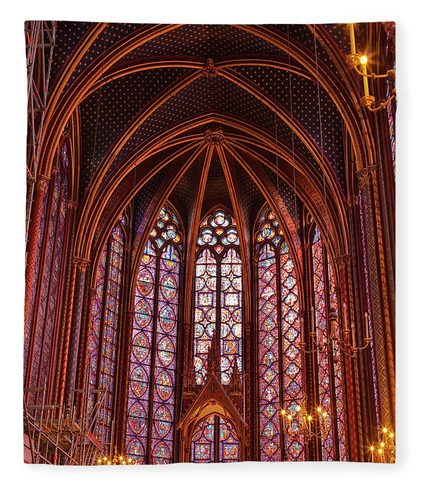 Gothic Style Fleece Blanket featuring the photograph Gothic Architecture Inside Sainte by Julian Elliott Photography