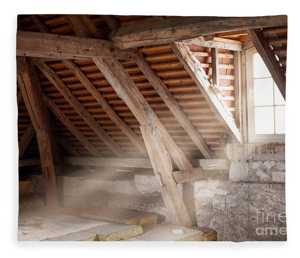 Attic Fleece Blanket featuring the photograph Grandpa's Attic by Delphimages Photo Creations
